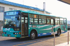 Regular bus connecting Shari to Utoro Onsen (hot spring area)